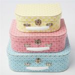 Set of 3 Decorative Moroccan Style Vintage Mini Suitcases Storage Boxes